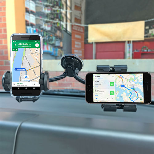 Universal Car Windshield Mount & Dual Holder for GPS / PDA / Phone