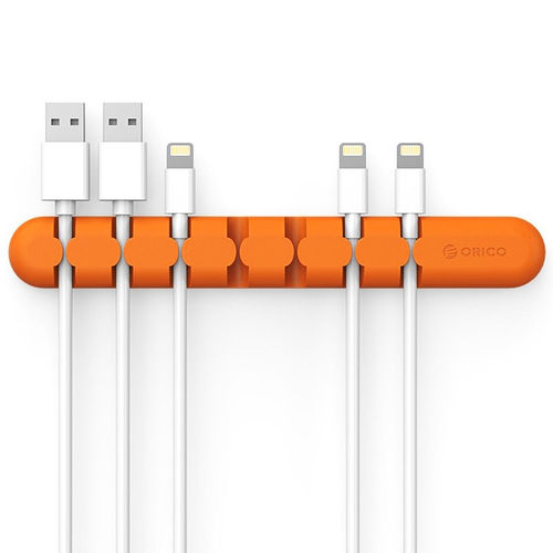 Orico (7-Bay) Desk Cable Management Cord Clips Organiser - Orange