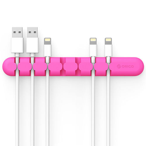 Orico (7-Bay) Desk Cable Management Cord Clips Organiser - Pink