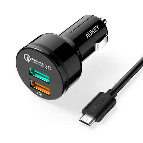 Aukey CC-T7 (36W) 2-Port USB Fast Car Charger + Quick Charge 3.0