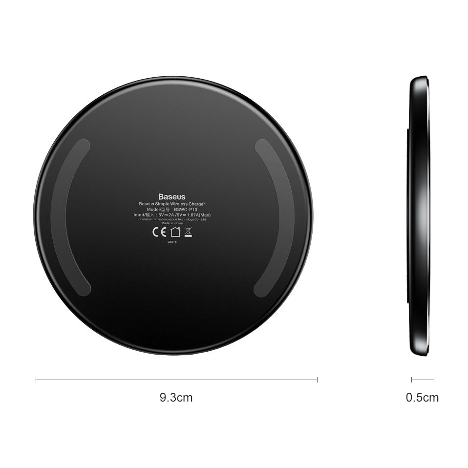 10W Baseus Simple Transparent Glass Fast Wireless Charger Pad