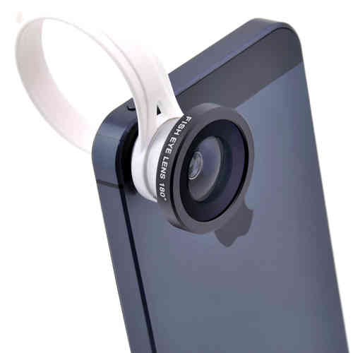 Clip-On 180 Degree Fish Eye Camera Lens for iPhone / Android / Tablets
