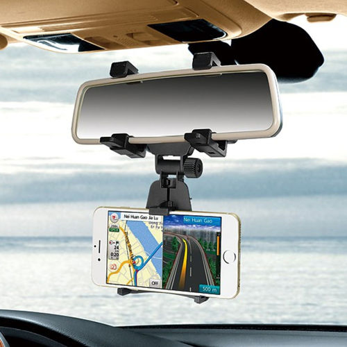 Universal Car Rear View Mirror Mount & Holder for Mobile Phones