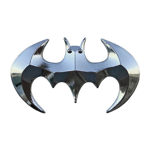 Batman Superhero Logo Car Vehicle Chrome Badge - Silver
