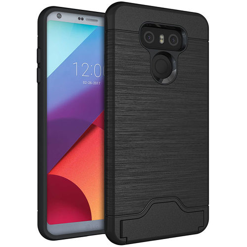 Dual Armour Tough Card Slot Holder Case & Stand for LG G6 - Black