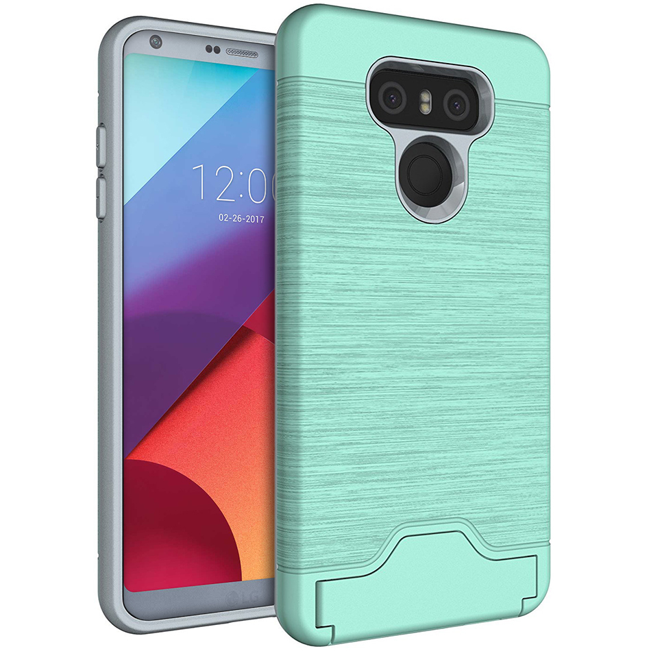 premium selection 36639 71717 Dual Armour Tough Card Slot Holder Case - LG G6 (Green)