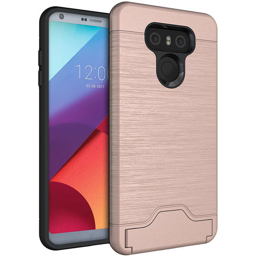 Dual Armour Tough Card Slot Holder Case & Stand for LG G6 - Pink
