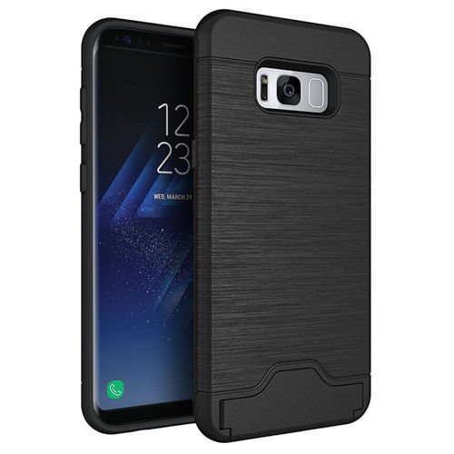 Dual Armour Tough Card Holder Case for Samsung Galaxy S8+ (Black)