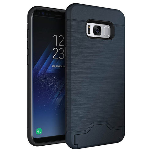 Dual Armour Tough Card Holder Case for Samsung Galaxy S8+ (Blue)