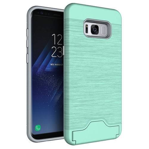 Dual Armour Tough Card Holder Case for Samsung Galaxy S8 Plus - Green