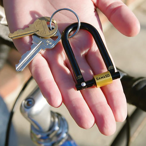 GamaGo U-Lock Small Secure Steel Keyring & Bicycle Keychain Lock