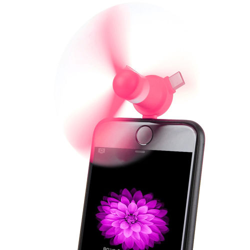 4-in-1 Portable USB Mini Fan Attachment for Phones (2-Pack) - Hot Pink