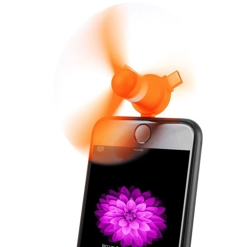 4-in-1 Portable USB Mini Fan Attachment for Phones (2-Pack) - Orange