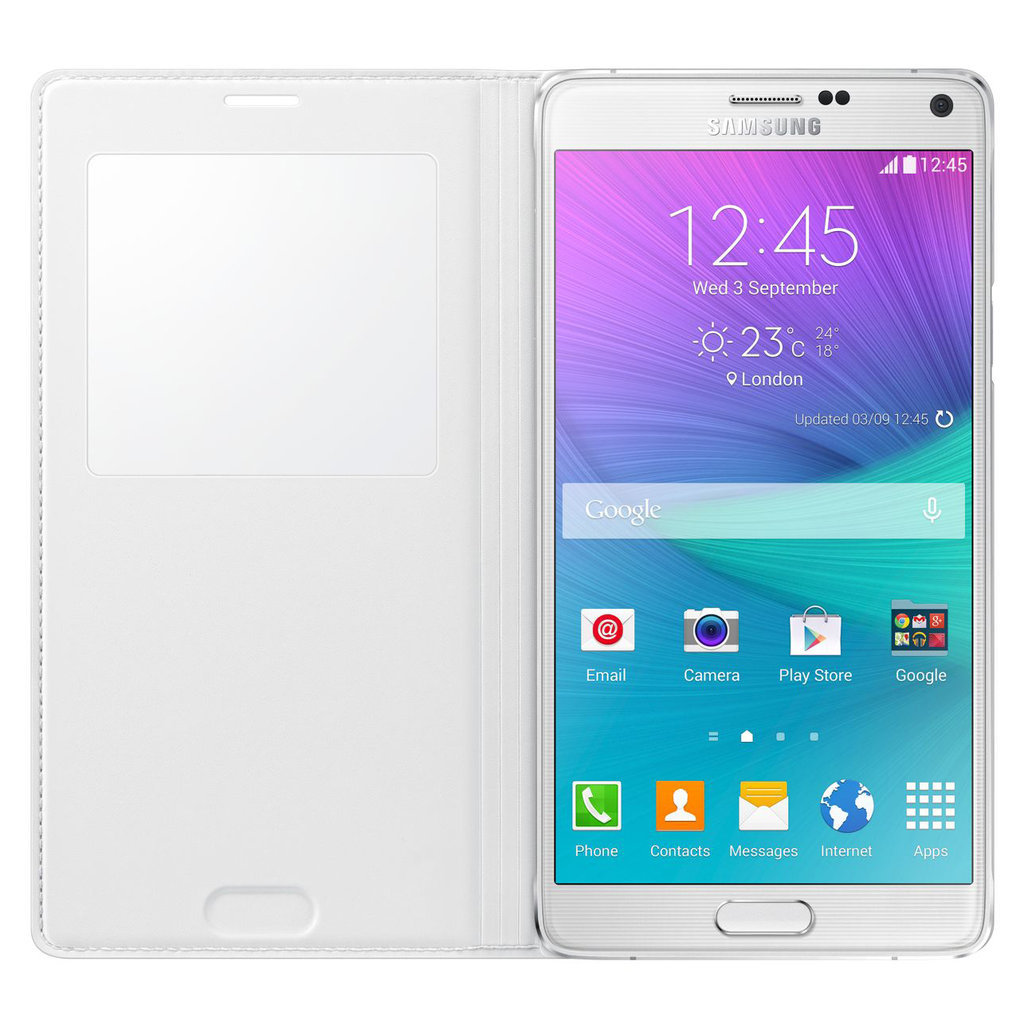 san francisco 37764 8d744 S-View Wireless Charging Case - Samsung Galaxy Note 4 (White)