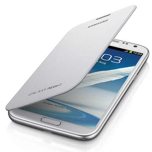 Flip Cover Protective Case with NFC for Samsung Galaxy Note 2 - White