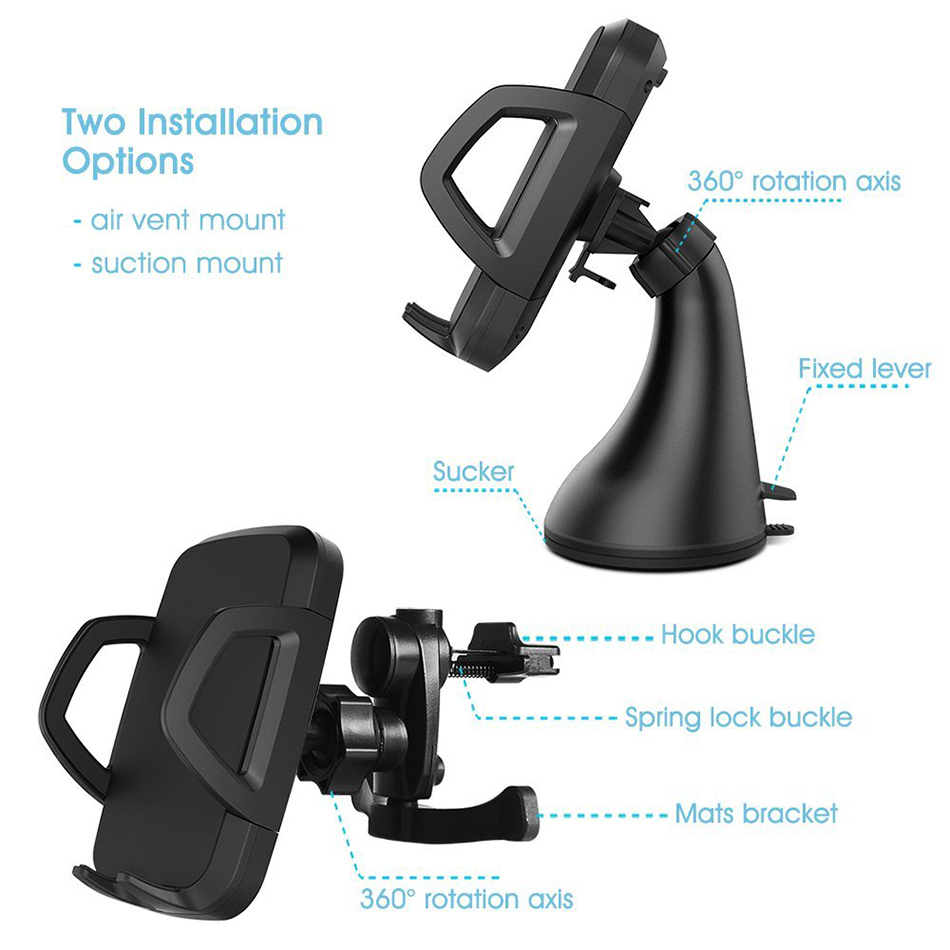 10W Qi Fast Wireless Charging Car Mount Holder For Mobile