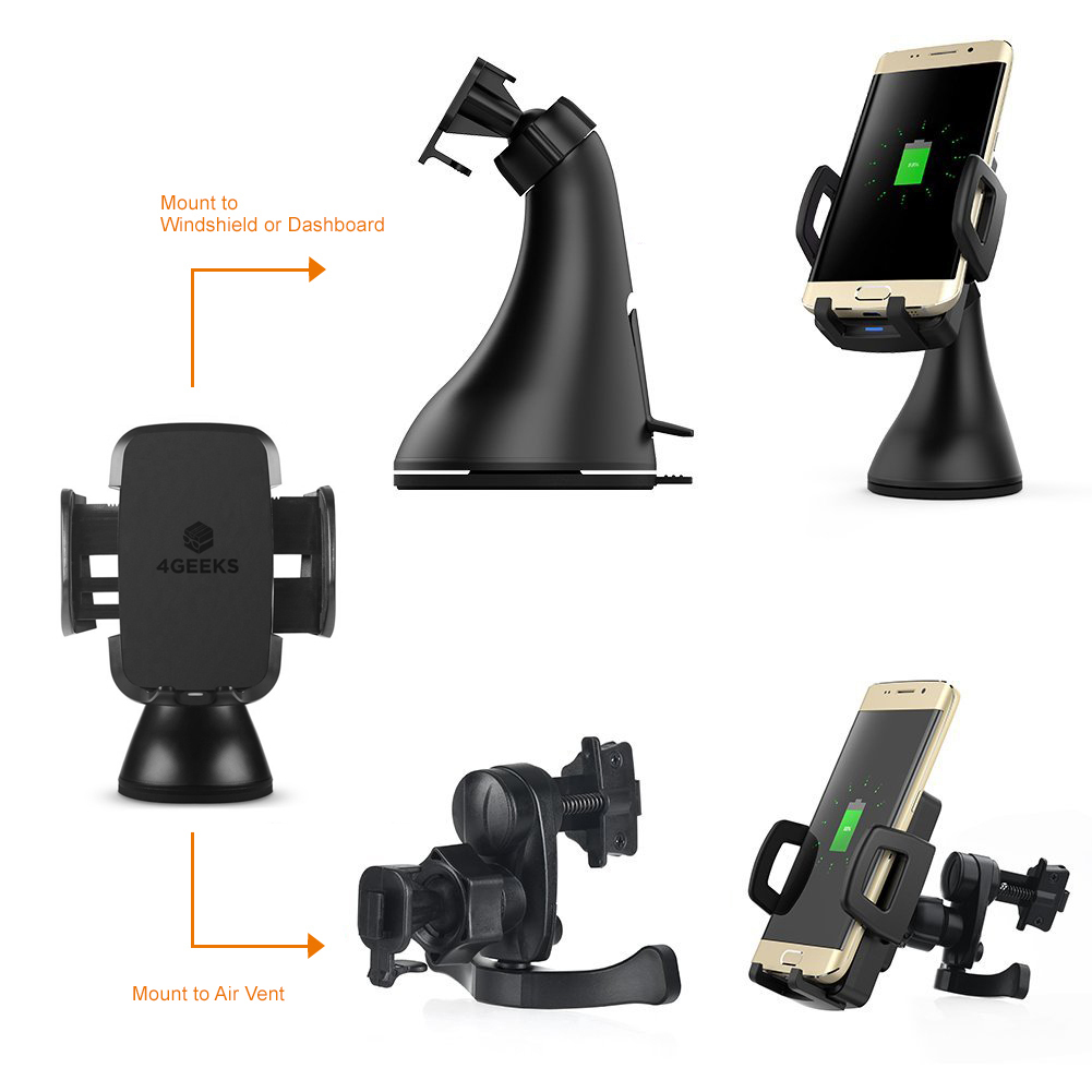 10W Fast Qi Wireless Charging Car Mount Holder For Mobile