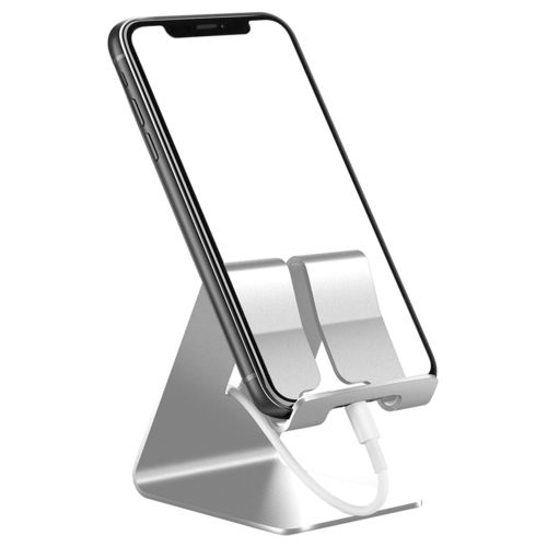 Aluminium Desktop Stand Holder for Mobile Phone / Mini Tablet - Silver
