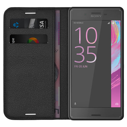 Leather Wallet Case & Card Holder - Sony Xperia X Performance - Black