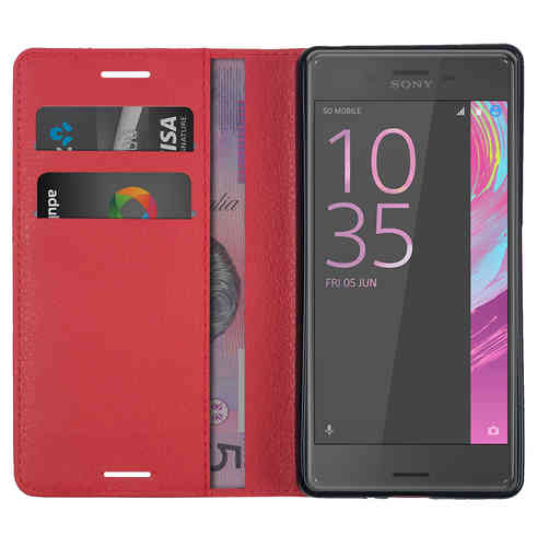 Leather Wallet Case & Card Holder - Sony Xperia X Performance - Red