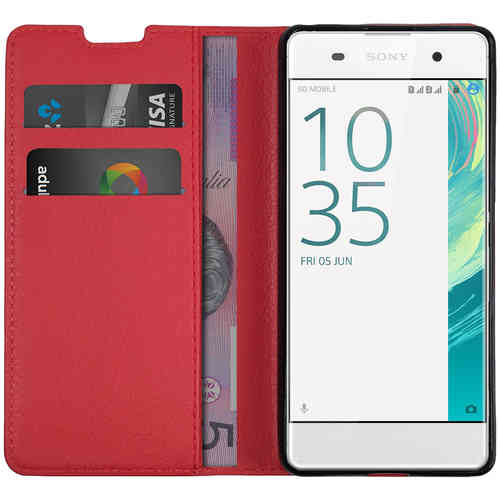Leather Wallet Case & Card Holder Pouch for Sony Xperia XA - Red