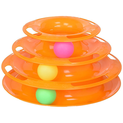 3-Level Tower of Tracks Interactive Ball Roller Cat Exercise Pet Toy