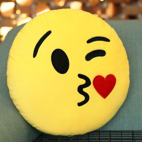 Emoji Throw Pillow (Emoticon Cushion) with Blowing a Kiss Face