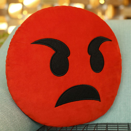 Emoji Throw Pillow (Emoticon Cushion) with Angry Pouting Face