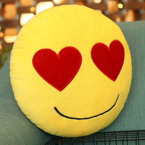 Emoji Throw Pillow (Emoticon Cushion) with Love Heart Eyes Face