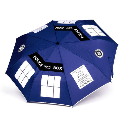 Doctor Who Large Retractable Tardis Umbrella - Blue