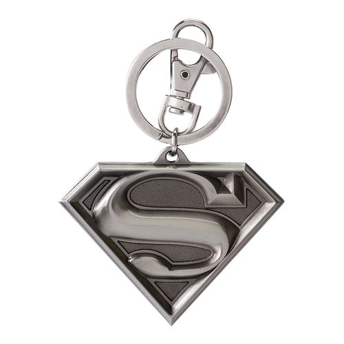 Ikon Collectables Superman Logo 3D Pewter Keychain Ring