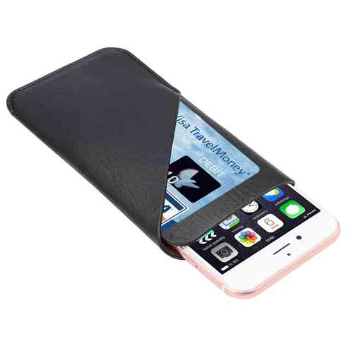 Large Vertical Leather Carry Pouch & Card Wallet for Phones - Black