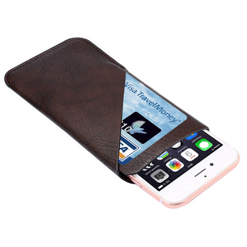 Large Vertical Leather Carry Pouch & Card Wallet for Phones - Brown