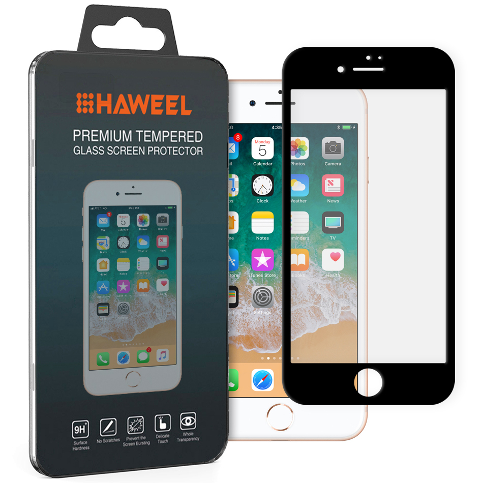 buy online 4a29d 1d300 Full Tempered Glass Screen Protector - Apple iPhone 8 / 7 (Black)