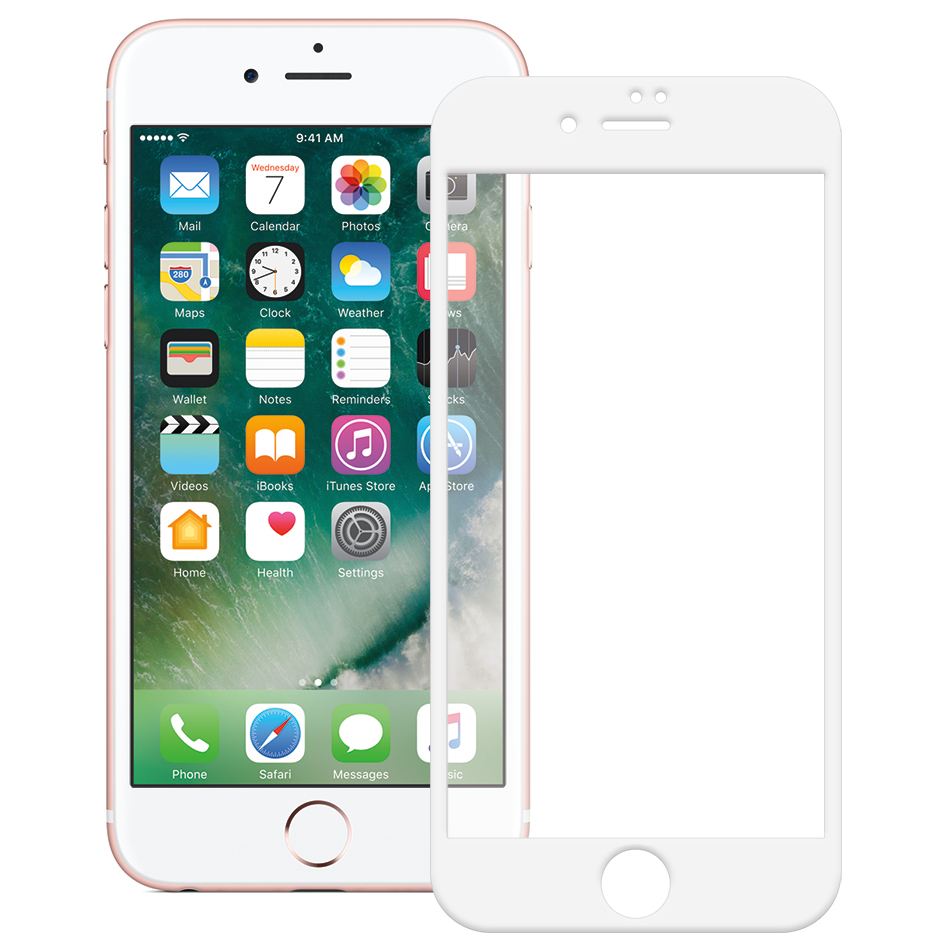 full tempered glass screen protector apple iphone 8 7 white. Black Bedroom Furniture Sets. Home Design Ideas