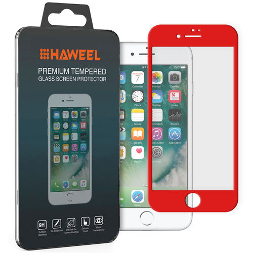 Full Fit Tempered Glass Screen Protector - Apple iPhone 8 / 7 - Red