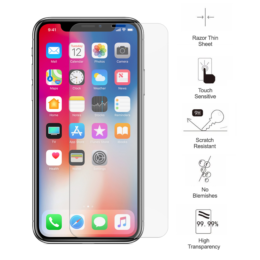 9h Tempered Glass Screen Protector Apple Iphone Xs Clear