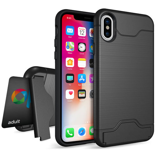 Dual Armour Tough Case Card Holder Stand - Apple iPhone X / Xs - Black