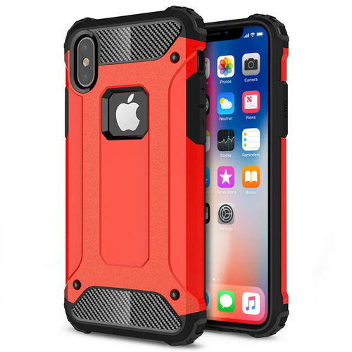 Military Defender Shockproof Case for Apple iPhone X / Xs - Red