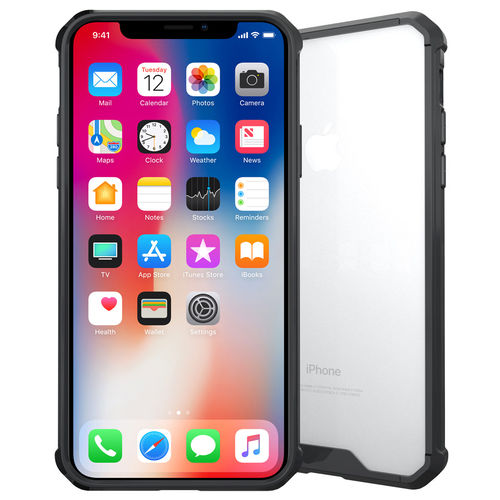 Hybrid Fusion Bumper Case for Apple iPhone X - Clear / Black Frame
