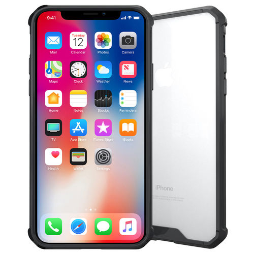 Hybrid Fusion Bumper Clear Case for Apple iPhone X / Xs - Black Frame