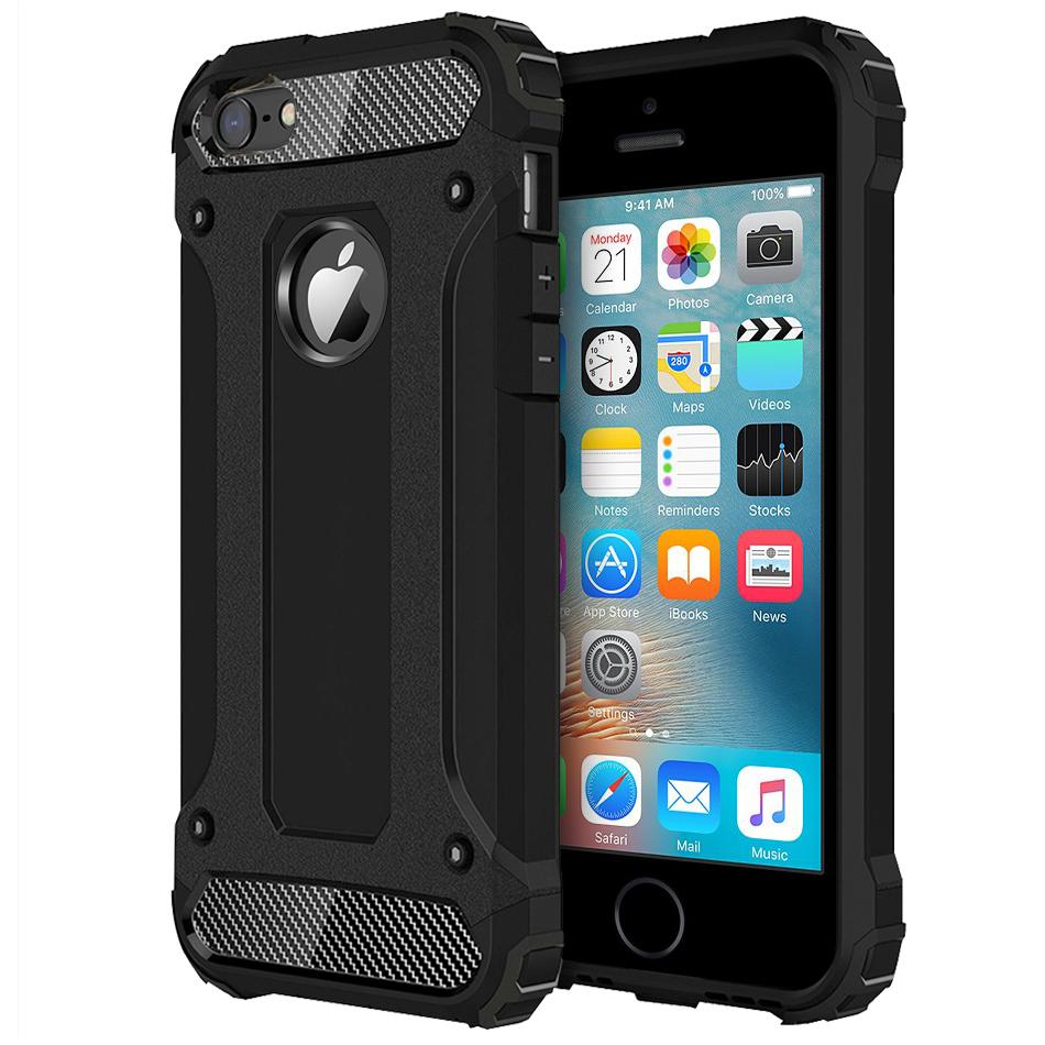 huge selection of c1e28 4fd4c Military Defender Shockproof Case - Apple iPhone SE / 5s (Black)