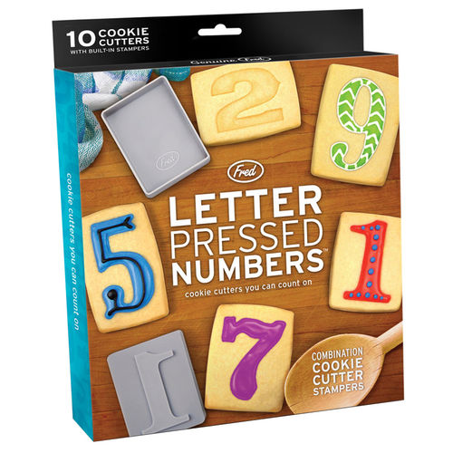 Fred & Friends Letter Pressed Numbers Cookie Cutters & Stamps (10-set)