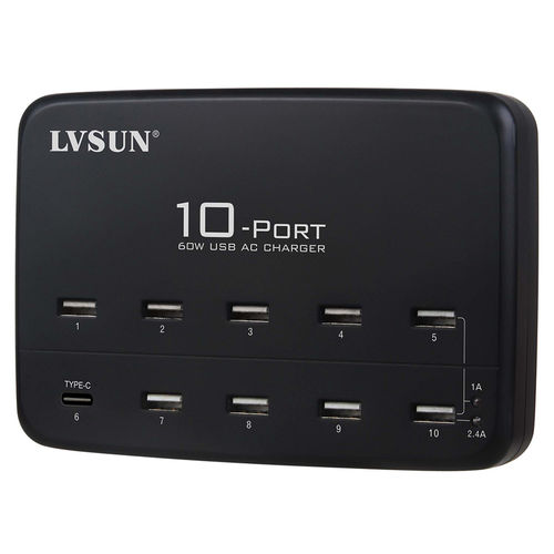 LVSun 60W 10-Port USB Charger Station with Type-C for Phones / Tablets