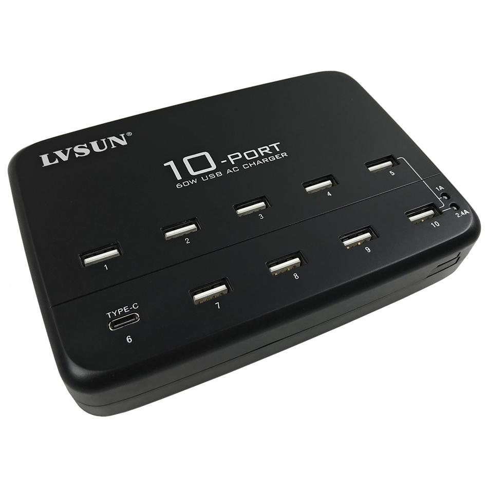 60w 10 port usb charger station type c for phones tablets. Black Bedroom Furniture Sets. Home Design Ideas