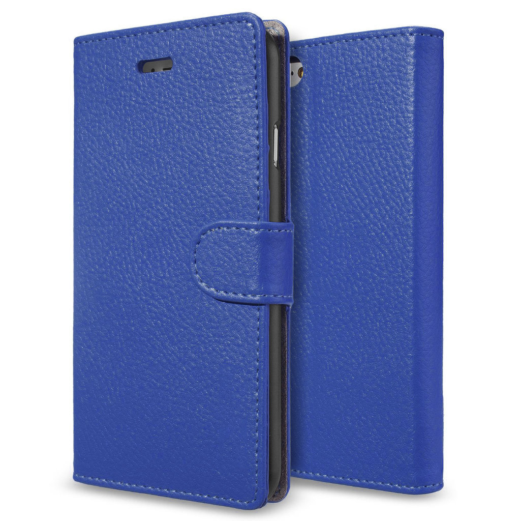 sports shoes b303a 09113 Leather Wallet Flip Case / Card Holder for Apple iPhone 6 / 6s - Blue