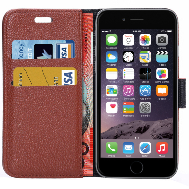 the best attitude 3efc9 3691a Leather Wallet Flip Case / Card Holder for Apple iPhone 6 / 6s - Brown