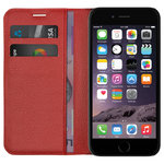 Leather Wallet Flip Case & Card Holder for Apple iPhone 6 / 6s - Red