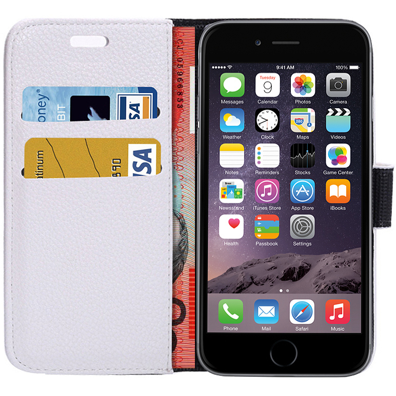 buy popular a9c29 eacc8 Leather Wallet Flip Case / Card Holder for Apple iPhone 6 / 6s - White