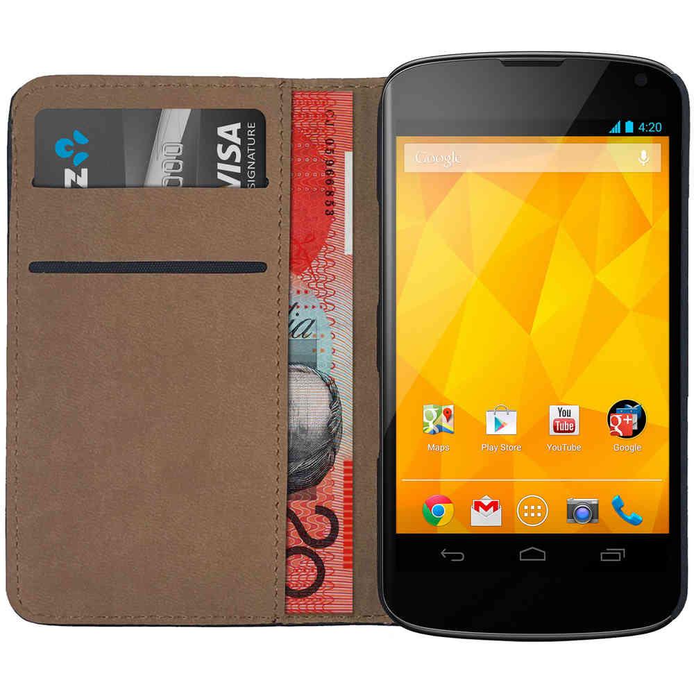 best website b9382 3e519 Leather Wallet Case for Google Nexus 4 (Black)
